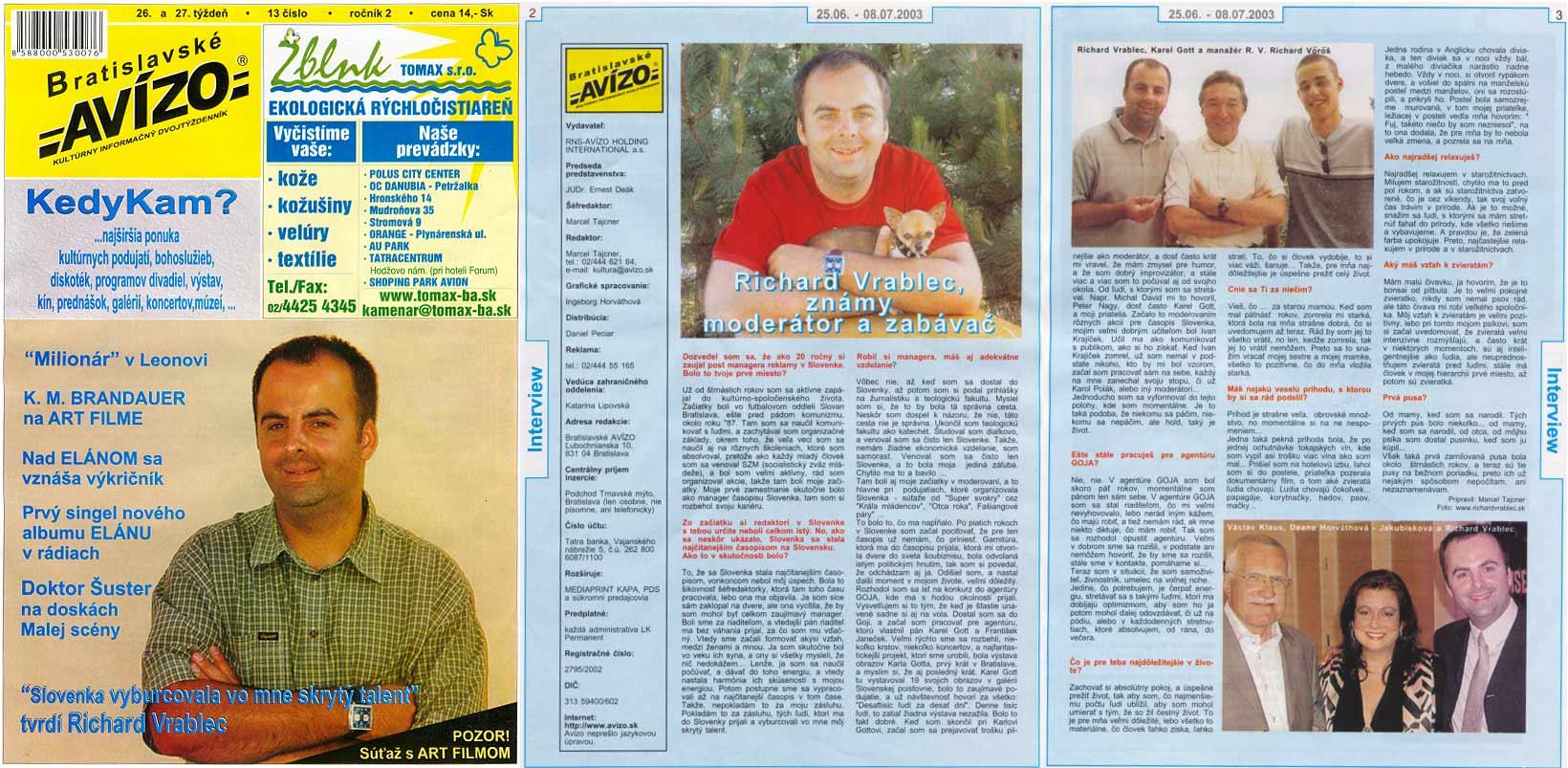 Avízo 13. číslo 2003: Titulka: Slovenka vo mne vyburcovala skrytý talent