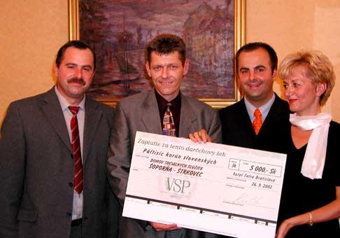 Odovzdanie šeku pre DSS Šoporňa Štrkovec na ochutnávke vín Victoria Security Printing
